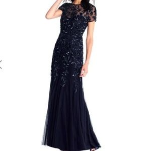 Floral Beaded Formal Gown with Sheer Short Sleeves